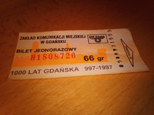 Bilet jednorazowy, wydrukowany z okazji obchodów 1000-lecia Gdańska.