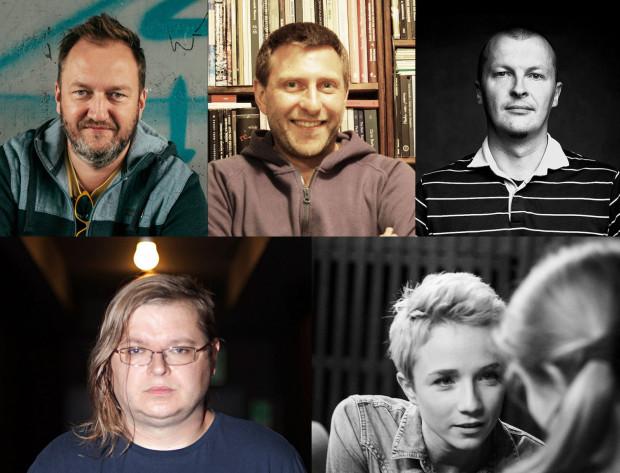 Tegoroczni finaliści Gdyńskiej Nagrody Dramaturgicznej. Na górze, od lewej: Jarosław Jakubowski, Michał Lachman, Piotr Rowicki. Na dole, od lewej: Przemysław Wojcieszek i Malina Prześluga.
