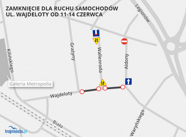 Organizacja ruchu w dniach 11-14 czerwca. Część ul. Wajdeloty zostanie zamknięta dla samochodów.