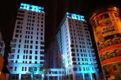 Wczoraj wieczorem na elewacji Quattro Towers oglądać można było kolorowe iluminacje. Inwestycja została oficjalnie otwarta.