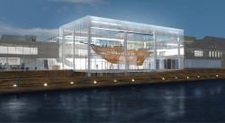 Idealne położenie obiektu byłoby nad wodą -  ułatwiłoby zwodowanie statku.