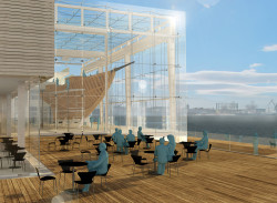 W swoim podstawowym założeniu projektowany budynek miał umożliwić remont statku w miejscu maksymalnie wyeksponowanym, tak, by również przechodnie mogli podziwiaći śledzić postęp prac.