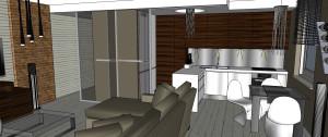 Niemal w całym mieszkaniu zachowany został jeden rodzaj podłogi, co pozwoliło uniknąć optycznych podziałów przestrzeni.