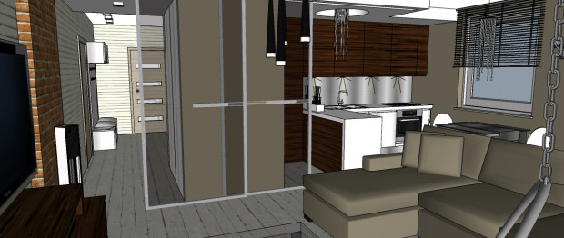 Otwarta przestrzeń aneksu kuchennego i strefy wypoczynku pozwala spędzać czas razem, kiedy jedna osoba jest w kuchni, a druga przed telewizorem.