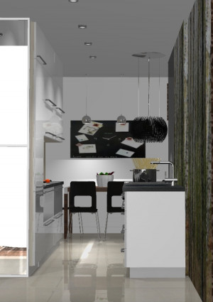 Dzięki częściowo wyspowemu rozplanowaniu kuchni w mieszkaniu znalazło się miejsce na stół jadalniany.