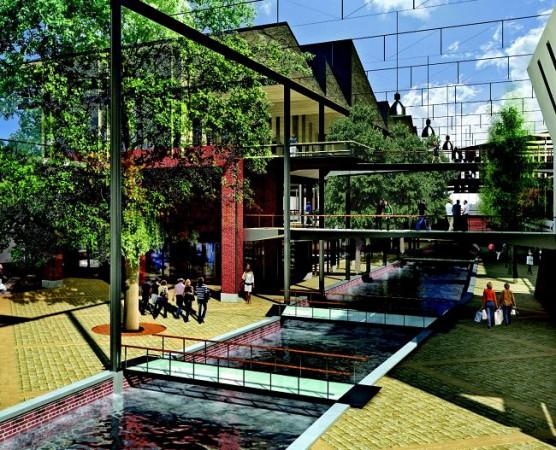 Nowe zagospodarowanie kanału Raduni. Plusy: podniesiony i zróżnicowany szklany dach, liczne przejścia nad kanałem, minusy - z naturalnej zieleni pozostają jedynie drzewa.