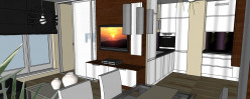 Wiszący na ścianie telewizor widoczny jest równie dobrze dla osoby siedzącej na kanapie jak i przy stole.