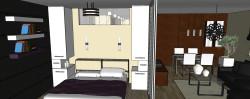Wysoka zabudowa po obu stronach łóżka pozwala wykorzystać przestrzeń sypialni, bez rezygnowania z mebla o funkcji nocnej szafki.