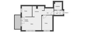 Projekt mieszkania po wprowadzeniu przez właścicieli dodatkowego pokoju.