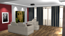 Kawałek pustej ściany w salonie ma swoje przeznaczenie - w każdej chwili może stać się kinowym ekranem.