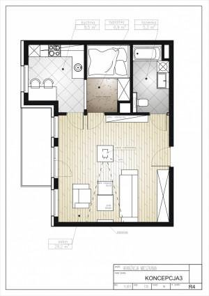 Koncepcja trzecia. Wszystkie pomieszczenia udało się zmieścić po prawej stronie od wejścia. Reszta to obszerny salon.