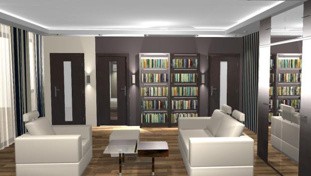 Koncepcja trzecia. Przestronny salon pomieści duży komplet wypoczynkowy. Z salonu wchodzi się do kuchni, sypialni i łazienki.
