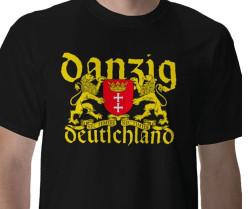 Koszulki z gdańskim herbem i napisem Danzig Deutschland.