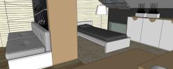 W części sypialnianej na podłodze znajduje się miękka wykładzina. Lampa do czytania nad łóżkiem.