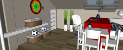 Przy biurku stoi regulowane krzesło: Oliwier od dziecka uczył się będzie zdrowo siedzieć.