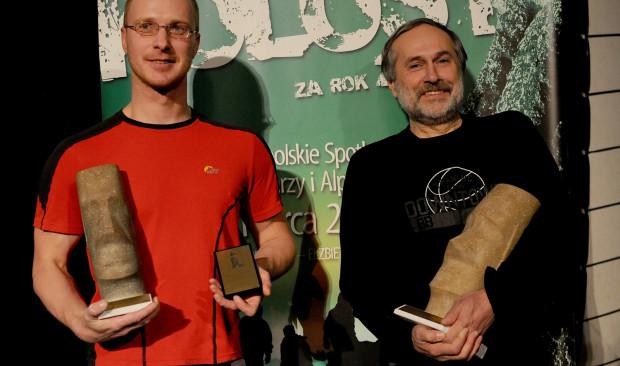 Uroczystość wręczenia Kolosów za rok 2009. Arkadiusz Mytko i Andrzej Ciszewski odbierają swoje nagrody.