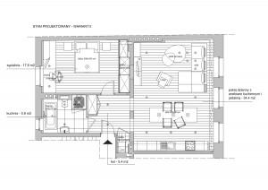 Wariant drugi. Salon i kuchnia w jednym pomieszczeniu.