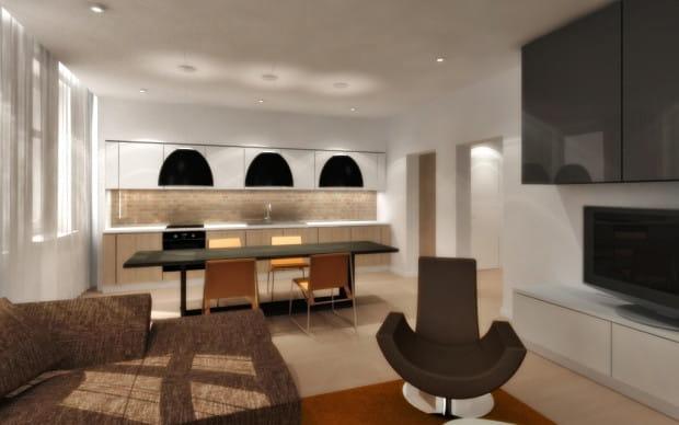 Wariant drugi. Kuchnia połączona z salonem. Granicę i... łącznik funkcji pomieszczenia stanowi duży stół jadalniany.