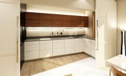 Koncepcja pierwsza. Kuchnia zamykana jest dużymi drzwiami przesuwnymi.