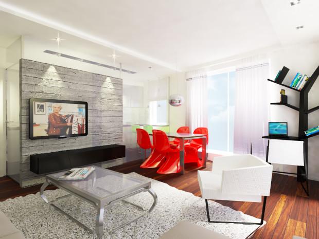 Koncepcja druga. Problem z umiejscowieniem telewizora został rozwiązany przez powstanie ścianki działowej pomiędzy kuchnią a pokojem dziennym.
