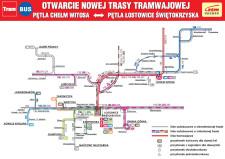 Schemat przebiegu linii autobusowych i tramwajowych w rejonie nowego węzła przesiadkowego. Kliknij w grafikę lub  tutaj , aby pobrać plik pdf.