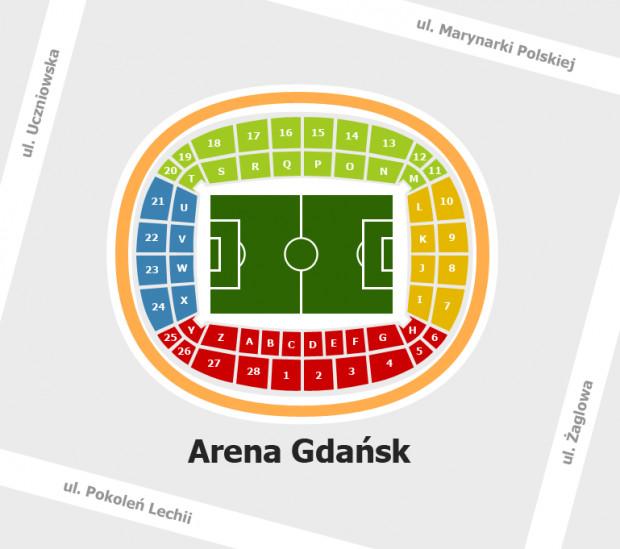 Podczas Euro 2012 na stadionie obowiązuje inne oznaczenie sektorów niż to miało miejsce na meczach Lechii.