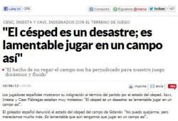 Artykuł z hiszpańskiej Marki, w której Fabregas, Xavi i Iniesta krytykują murawę na stadionie w Gdańsku.