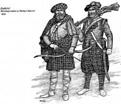 Zaciężni żołnierze szkoccy z połowy XVII wieku.