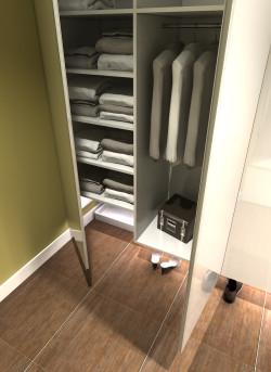 Wariant kolorystyczny łagodny. Kuweta dla kotów jest dostępna dla właścicieli mieszkania po otwarciu szafy.
