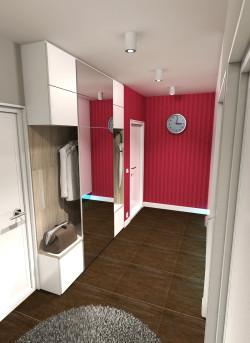 Wariant kolorystyczny intensywny. Lustro naklejone na płytę meblową pozwala przejrzeć się przed wyjściem i optycznie powiększa pomieszczenie bez okna.