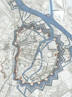 Siatka kanałów oraz fosa w XVII-wiecznym Gdańsku. Widać na niej nie tylko liczne kanały na Starym, ale też na Dolnym Mieście.