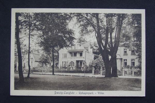 Przedwojenna pocztówka z willami przy ul. Jana Uphagena nr 21 i 19 ze zbiorów Mariusza Janowskiego.