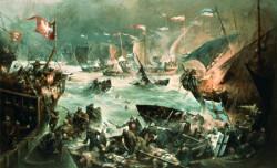 """W XV w. Zalew Wiślany nazywano Zatoką / Zalewem Świeżym (niem. Frisches Haff). Od morza oddzielała go mierzeja, dzięki czemu woda w Zalewie nie była słona, ale właśnie """"słodka"""", """"świeża"""". W języku polskim funkcjonowała również nazwa: Zalew/Zatoka Fryska (spolszczenie niemieckiego słowa """"Frisches""""). Na zdjęciu """"Bitwa na Zatoce Świeżej 1463"""", Henryk  Baranowski, 1988."""