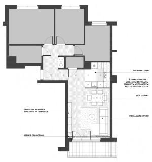 Koncepcja trzecia. Ścianka działowa wysokości 160 cm między pomieszczeniami.