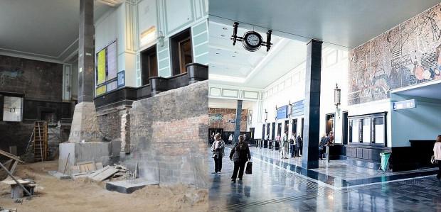 Dworzec PKP w Gdyni: podczas remontu i po nim.