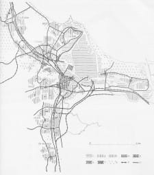 Schemat Planu GD (1946-48). 1 - tereny portowe, 2 – dzielnice mieszkaniowo–przemysłowe, 3 – dzielnice mieszkaniowe, 4 –dzielnice mieszkaniowo–usługowe, 5 – ośrodki usługowe (dzielnicowe i city), 6 – wyższe uczelnie, 7 – tereny targowo-wystawiennicze, 8 – lasy, 9 – koleje, 10 – drogi.