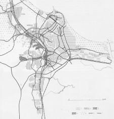 Schemat Planu Gdańsk - Sopot - Gdynia (Plan Liera) z 1952 r. 1 -  główne tereny portowe, 2 – zabudowa mieszkaniowa, 3 – ośrodki śródmiejskie i dzielnicowe, 4 – inne tereny użyteczności publicznej, 5 – lasy i parki leśne, 6 – koleje, 7 – drogi.