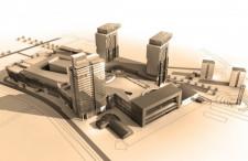 Centrum handlowe Stocznia z widoczną po lewej ul. Nową Wałową. Budynek w narożniku zdominowany przez centrum to sala BHP Stoczni Gdańskiej.