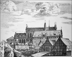 Tak przed wiekami wyglądały budynki kościoła i klasztoru ojców franciszkanów.